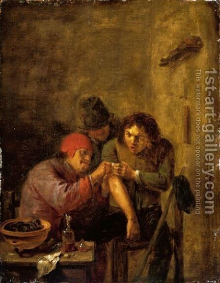 A Doctor Tending To A Wounded Peasant by (after) Adriaen Brouwer - Reproduction Oil Painting