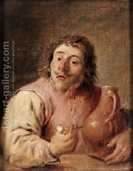 A Man Holding A Pipe And A Jug by (after)  David The Younger Teniers - Reproduction Oil Painting