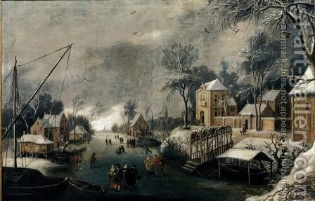 A Winter Landscape With Figures Skating On A Frozen River by (after) Anthonie Beerstraten - Reproduction Oil Painting