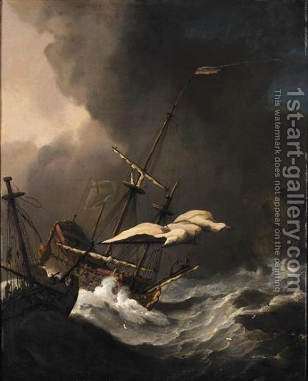 Two English Ships In Distress Being Driven On To The Rocks by (after) Willem Van De, The Younger Velde - Reproduction Oil Painting