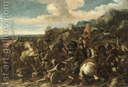 Battlescene Before A Hilltop Town With A Hapsburg Army by (after) Antonio Diziani - Reproduction Oil Painting