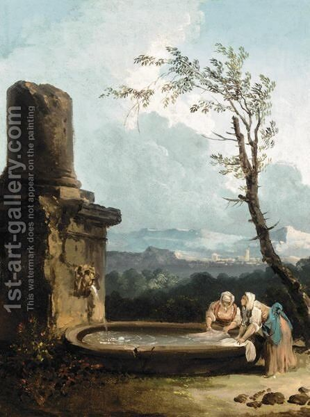 Landscape With Women Doing Their Laundry In A Fountain by (after) Hubert Robert - Reproduction Oil Painting