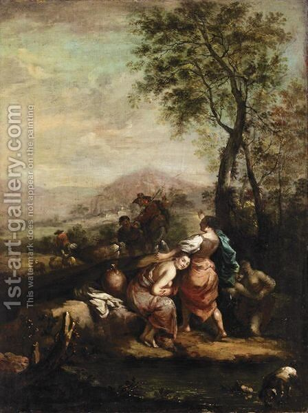 Italianate Landscape With Girls Bathing by (after) Francesco Zuccarelli - Reproduction Oil Painting