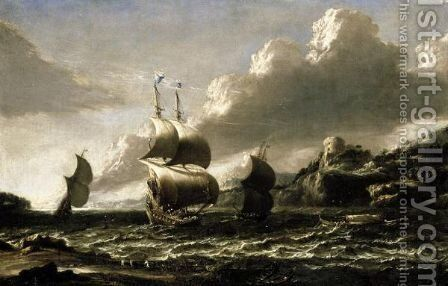 Coastal Landscape With Shipping In A Bay by (after) Alessandro Magnasco - Reproduction Oil Painting