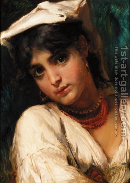 Russian Beauty In White by (after) Konstantin Egorovich Egorovich Makovsky - Reproduction Oil Painting