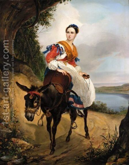 Portrait Of Olga Ferzen On A Donkey by (after) Karl Pavlovich Brulov - Reproduction Oil Painting