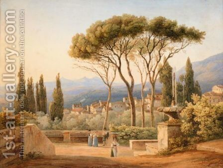 View From The Villa D'Este At Tivoli Near Rome by Elisabeth Cheremeteff - Reproduction Oil Painting