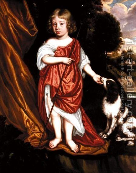 Portrait Of A Boy, Said To Be William Somerville, With His Pet Dog by (after) Gerard Soest - Reproduction Oil Painting