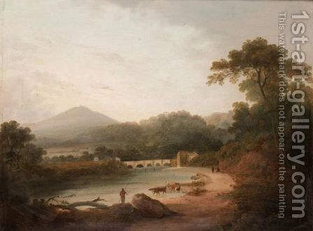 Figures And Cattle By A River by (after) Julius Caesar Ibbetson - Reproduction Oil Painting
