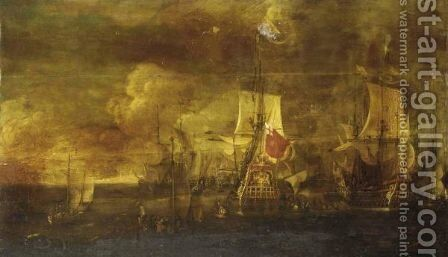 James, Duke Of York Boarding His Flagship, The Royal Charles And The English Fleet Before The Battle Of Lowestoft, 3rd June 1665 by (after) Isaac Sailmaker - Reproduction Oil Painting