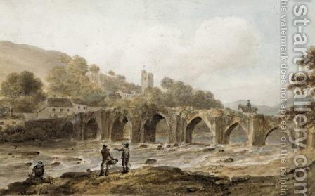 The Bridge, Landilo Fawr, Caermarthenshire by Nicholas Pocock - Reproduction Oil Painting