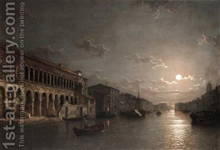 Moonlight On The Grand Canal, Venice by Henry Pether - Reproduction Oil Painting