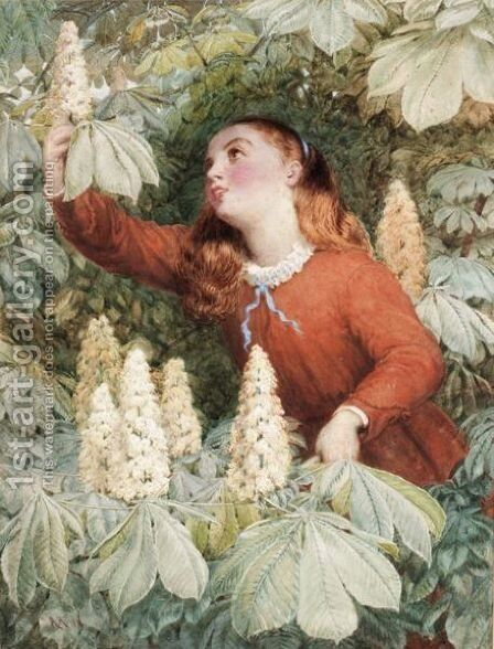 Picking Chestnuts by (after) Sir Hubert Von Herkomer - Reproduction Oil Painting