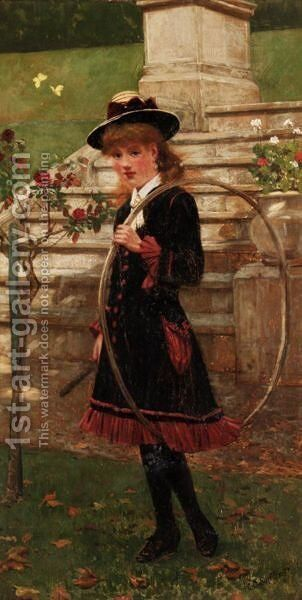 Girl With A Hoop by (after) Walter-Dendy Sadler - Reproduction Oil Painting