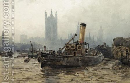 Shipping On The Thames by Maude Parker - Reproduction Oil Painting