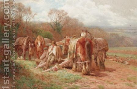 The Ploughman's Lunch by Charles James Adams - Reproduction Oil Painting