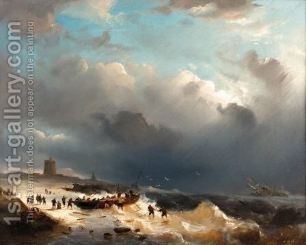 The Rescue by Adrianus David Hilleveld - Reproduction Oil Painting