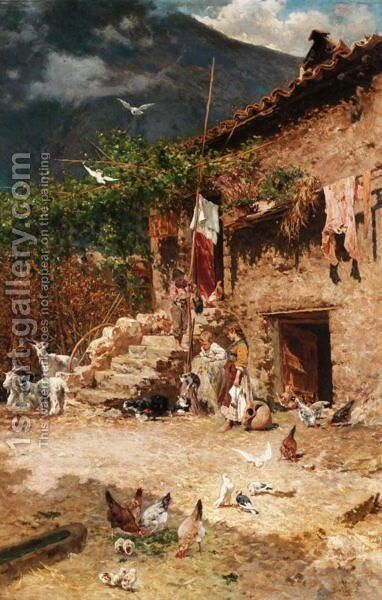 Children In The Farmyard by Aurelio Tiratelli - Reproduction Oil Painting