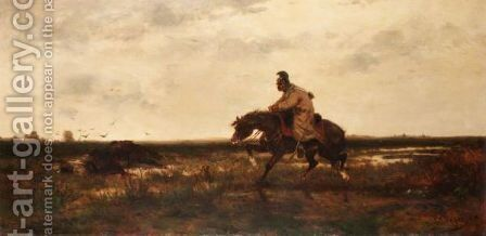 The Lonely Rider by (after) Adolf Schreyer - Reproduction Oil Painting