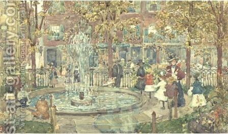 The Fountain, Boston by Maurice Brazil Prendergast - Reproduction Oil Painting