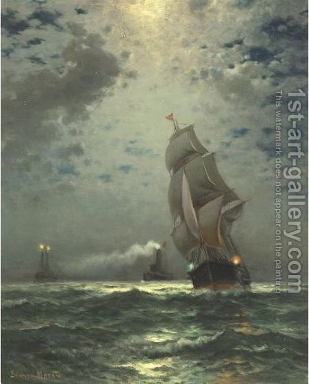 Moonlight, Maine by Edward Moran - Reproduction Oil Painting