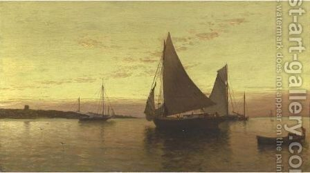 Sailboats At Sundown by Alfred Thompson Bricher - Reproduction Oil Painting