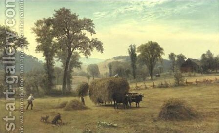 Gathering Hay, New Hampshire by Albert Bierstadt - Reproduction Oil Painting