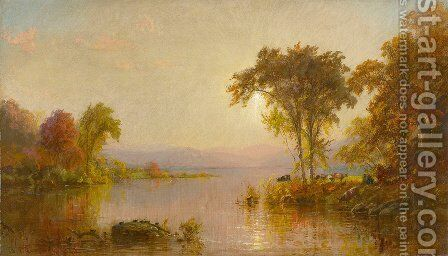 Autumn Splendor On The Susquehanna With Turtles And Cows by Jasper Francis Cropsey - Reproduction Oil Painting