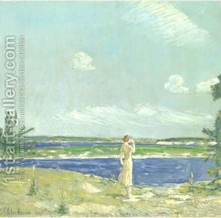 Woman Looking At The Sea by Frederick Childe Hassam - Reproduction Oil Painting