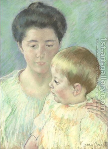 Mother Looking Down At Her Blond Baby Boy by Mary Cassatt - Reproduction Oil Painting