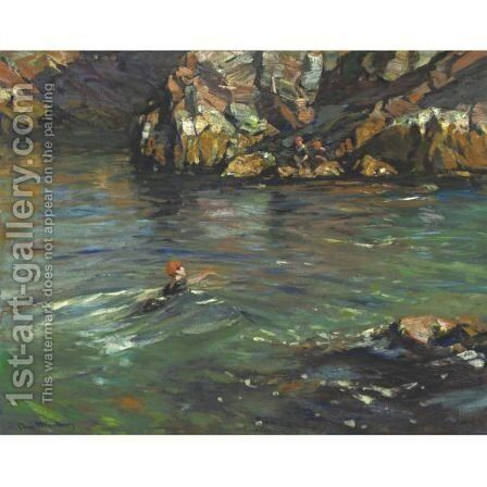 The Swimmer by Charles Herbert Woodbury - Reproduction Oil Painting