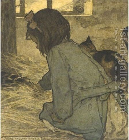 Girl With Kittens by Jessie Willcox Smith - Reproduction Oil Painting