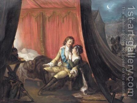 Peter The Great Meeting His Lover by Eduard Strohling - Reproduction Oil Painting