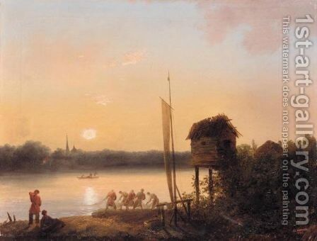 Evening Riverscape With Fishermen by Ivan Alekseevich Ivanov - Reproduction Oil Painting
