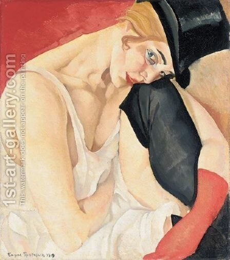 Woman In Top Hat by Boris Dmitrievich Grigoriev - Reproduction Oil Painting