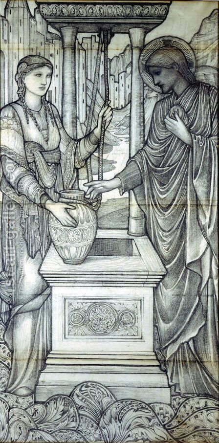Christ And The Woman Of Samaria At The Well 2 by Sir Edward Coley Burne-Jones - Reproduction Oil Painting