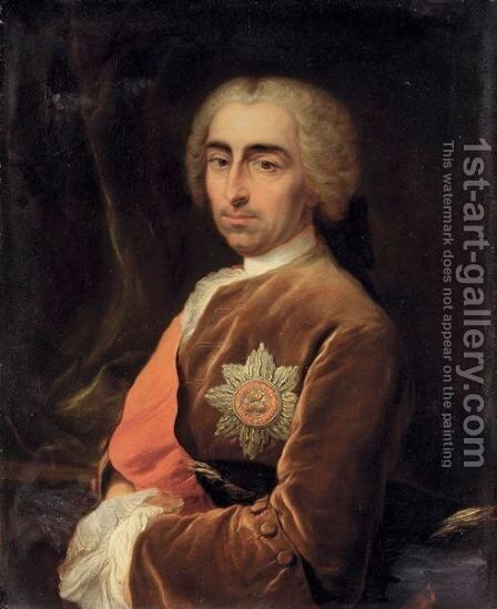 Portrait Of A Gentleman, Possibly Henry Calthorpe by Carle van Loo - Reproduction Oil Painting