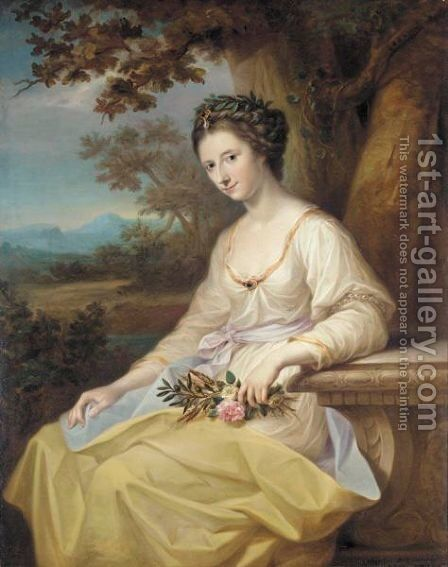Portrait Of The Hon. Anne Seymour Damer As Ceres by Angelica Kauffmann - Reproduction Oil Painting