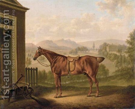 A Saddled Chestnut Hunter In A Landscape by Charles Towne - Reproduction Oil Painting