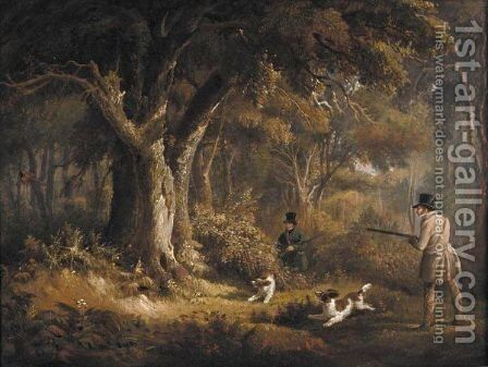 Two Gentlemen With Their Spaniels Pheasant Shooting by Edward Duncan - Reproduction Oil Painting