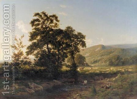 Paisaje Con Ganado (Panoramic Landscape With Cattle) by Carlos de Haes - Reproduction Oil Painting