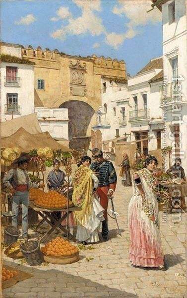 Mercado, Sevilla (The Market Place, Seville) by Joaquin Turina - Reproduction Oil Painting