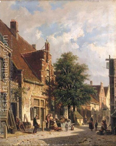 A Street Scene In Haarlem by Adrianus Eversen - Reproduction Oil Painting