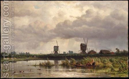 Figures In A Boat With Two Windmills Beyond by Jan Willem Van Borselen - Reproduction Oil Painting