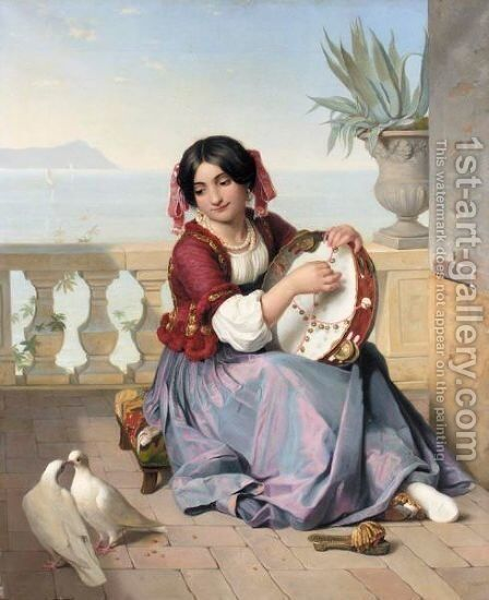 The Tambourine Player by Guillaume Bodinier - Reproduction Oil Painting