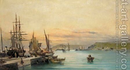 Admiring The Ships In A Greek Harbour by Constantinos Volanakis - Reproduction Oil Painting