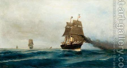 Steamship At Sea by Constantinos Volanakis - Reproduction Oil Painting