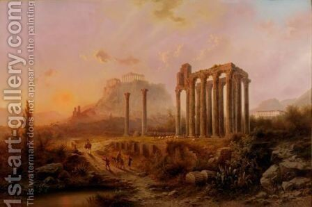 View Of The Olympieum And The Acropolis by Albert Rieger - Reproduction Oil Painting