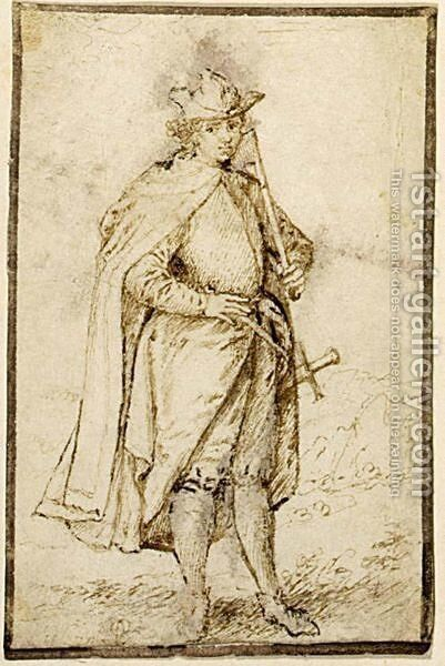 Study Of A Caped Gentleman, With A Stick And A Sword by Johan Wierix - Reproduction Oil Painting