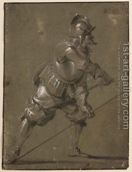 An Infantryman Drawing His Sword by Jacob Mathias Weyer - Reproduction Oil Painting